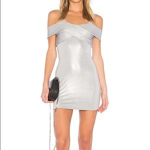 By the Way Evie Cold Shoulder Dress in Silver